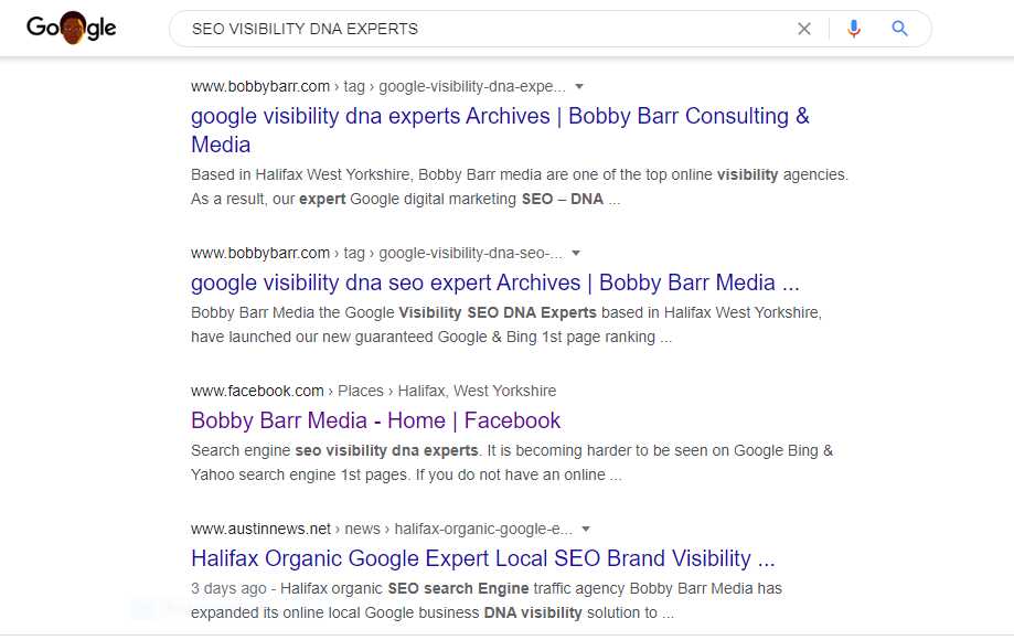 search engine 1st page  seo visibility dna footprint